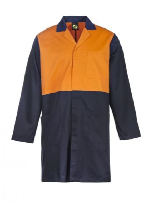 HI VIS TWO TONE DUSTCOAT WITH PATCH POCKETS - LONG SLEEVE