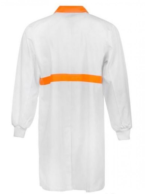 FOOD INDUSTRY DUSTCOAT WITH CONTRAST COLLAR, CHESTBAND, INTERNAL PATCH POCKETS - LONG SLEEVE