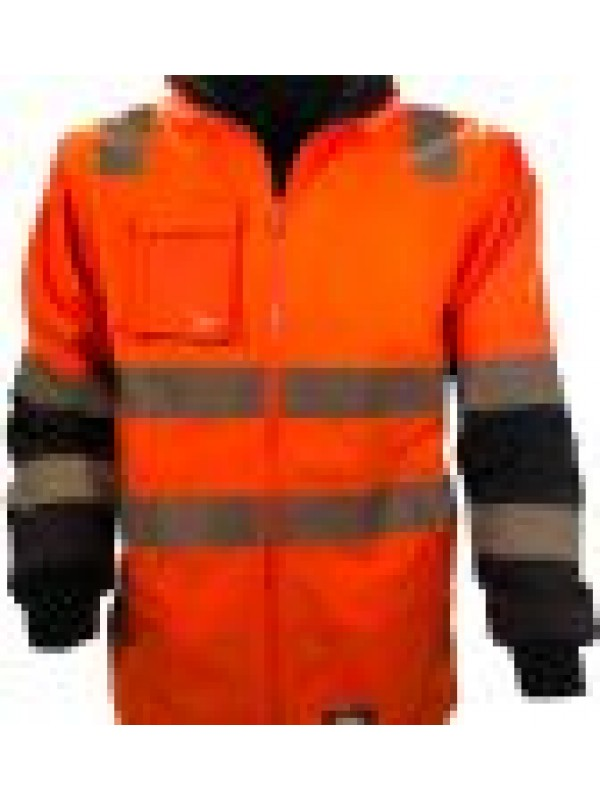 MENS WET WEATHER JACKET WITH REMOVABLE SLEEVES & TRU REFLECTIVE TAPE