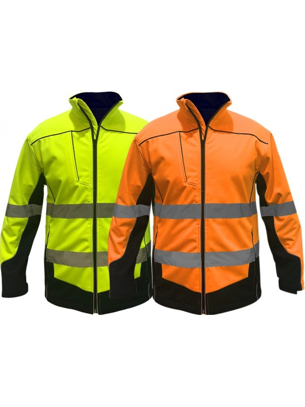 MENS SOFTSHELL FULL ZIP JACKET WITH TRU REFLECTIVE TAPE